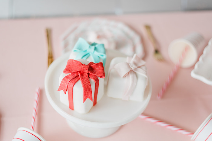 Mini Gift Cakes from a Merry and Bright Christmas Holiday Party on Kara's Party Ideas | KarasPartyIdeas.com (23)