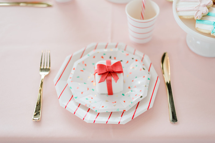 Table Setting from a Merry and Bright Christmas Holiday Party on Kara's Party Ideas | KarasPartyIdeas.com (22)
