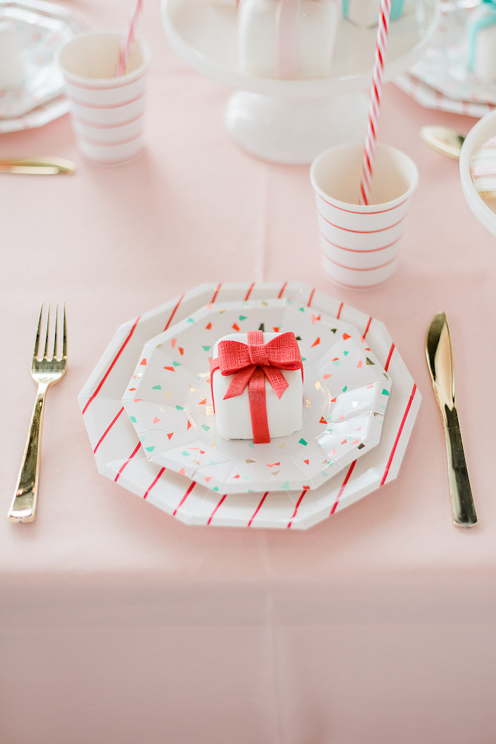 Table Setting from a Merry and Bright Christmas Holiday Party on Kara's Party Ideas | KarasPartyIdeas.com (20)