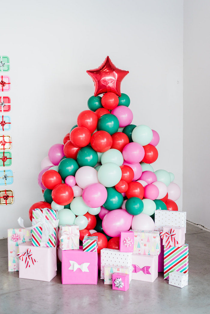 Balloon Christmas Tree from a Merry and Bright Christmas Holiday Party on Kara's Party Ideas | KarasPartyIdeas.com (46)