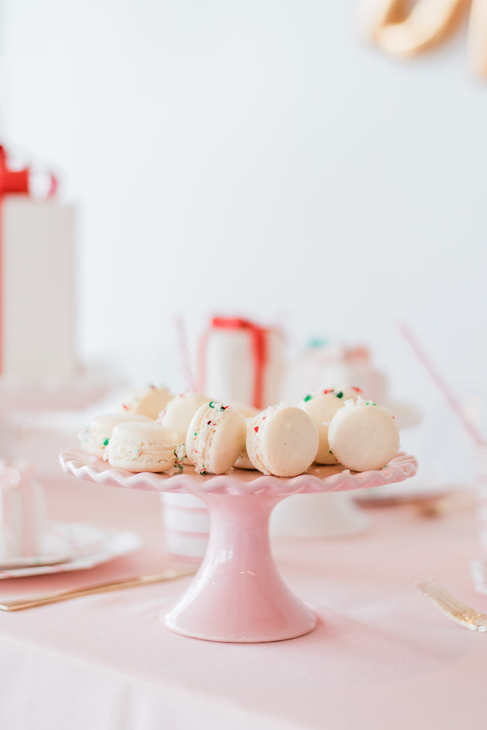 Holiday Sprinkled Macarons from a Merry and Bright Christmas Holiday Party on Kara's Party Ideas | KarasPartyIdeas.com (17)