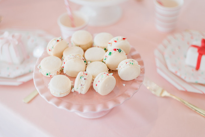 Holiday Sprinkled Macarons from a Merry and Bright Christmas Holiday Party on Kara's Party Ideas | KarasPartyIdeas.com (16)
