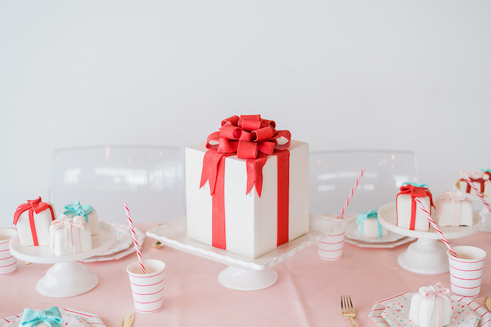 Christmas Present Cake + Mini Cakes from a Merry and Bright Christmas Holiday Party on Kara's Party Ideas | KarasPartyIdeas.com (15)
