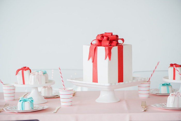 Christmas Cake Table + Table Settings from a Merry and Bright Christmas Holiday Party on Kara's Party Ideas | KarasPartyIdeas.com (13)