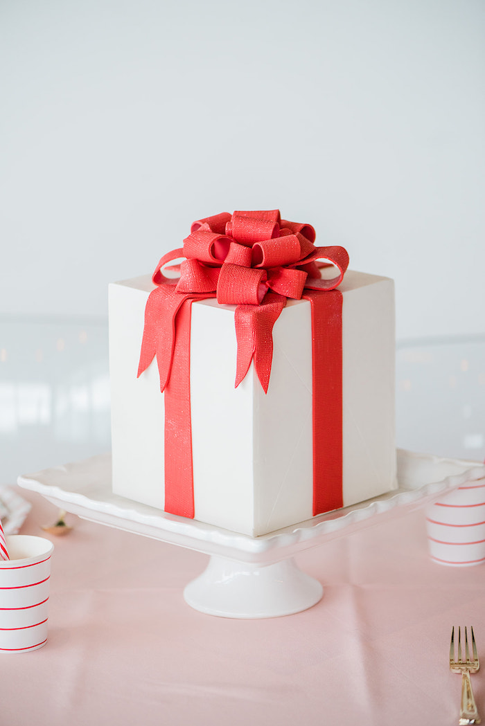 Christmas Present Cake from a Merry and Bright Christmas Holiday Party on Kara's Party Ideas | KarasPartyIdeas.com (12)