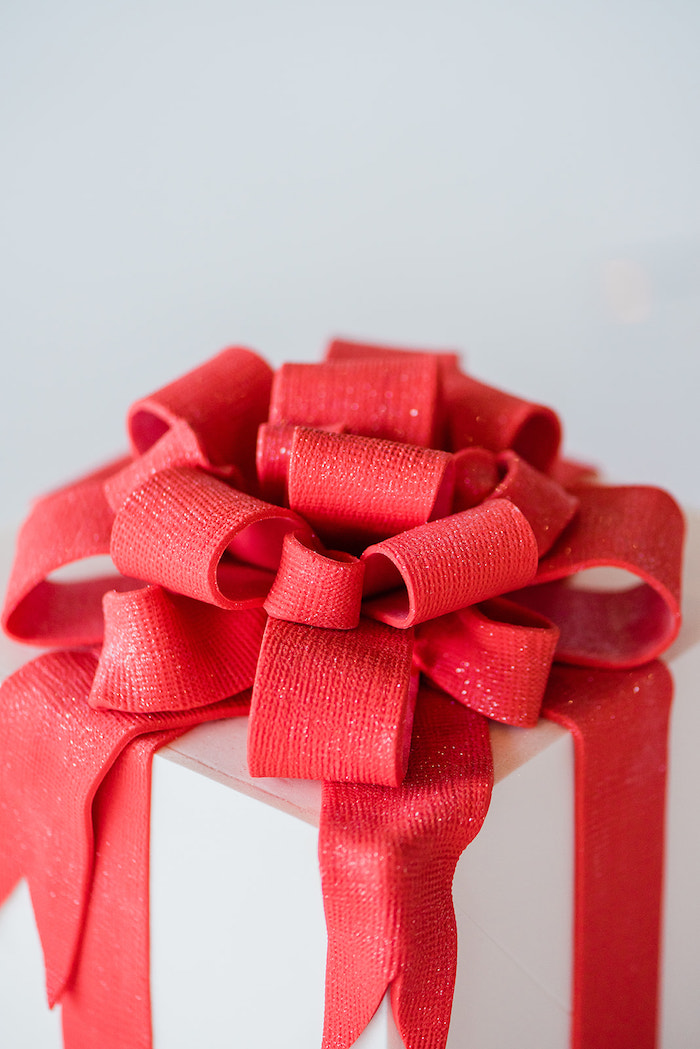 Fondant Bow atop a Present Cake from a Merry and Bright Christmas Holiday Party on Kara's Party Ideas | KarasPartyIdeas.com (11)