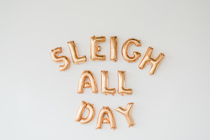 Sleigh All Day Balloon Sign from a Merry and Bright Christmas Holiday Party on Kara's Party Ideas | KarasPartyIdeas.com (10)
