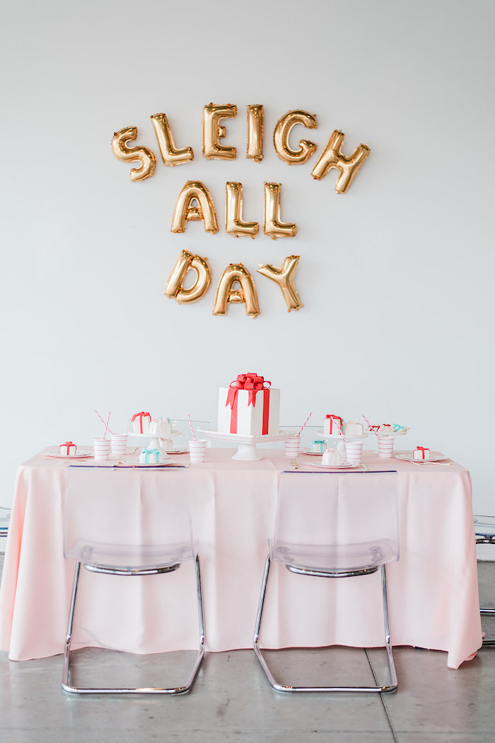 Guest Table from a Merry and Bright Christmas Holiday Party on Kara's Party Ideas | KarasPartyIdeas.com (9)