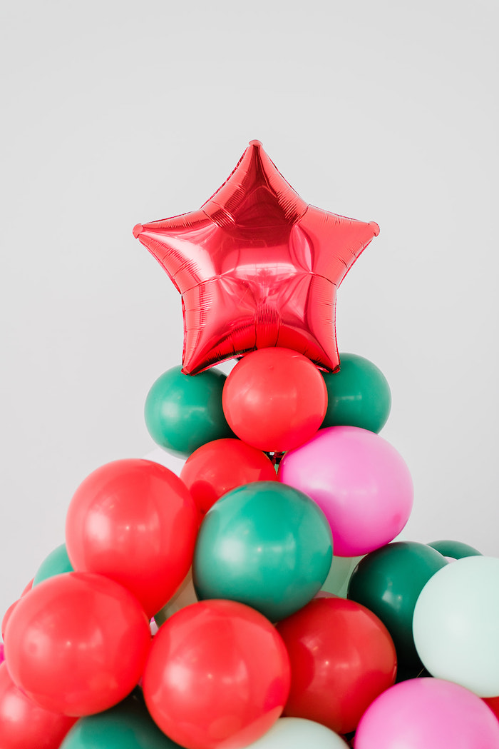 Balloon Christmas Tree from a Merry and Bright Christmas Holiday Party on Kara's Party Ideas | KarasPartyIdeas.com (45)