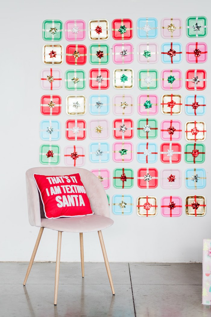 Gift-wrapped Plate Backdrop from a Merry and Bright Christmas Holiday Party on Kara's Party Ideas | KarasPartyIdeas.com (44)