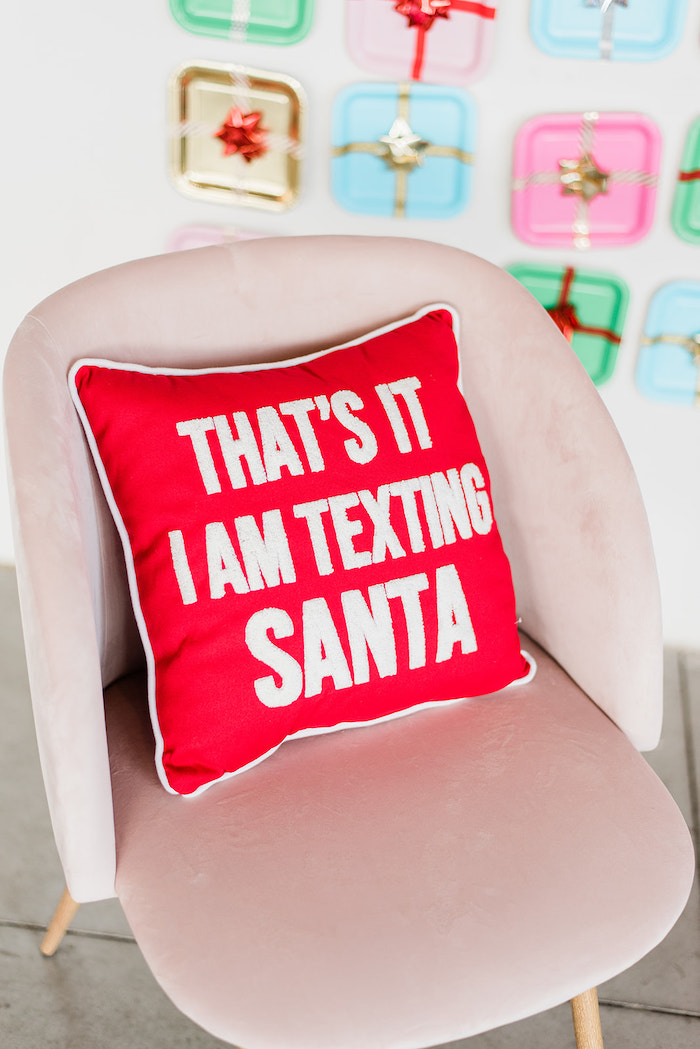 That's It I Am Texting Santa Pillow from a Merry and Bright Christmas Holiday Party on Kara's Party Ideas | KarasPartyIdeas.com (43)
