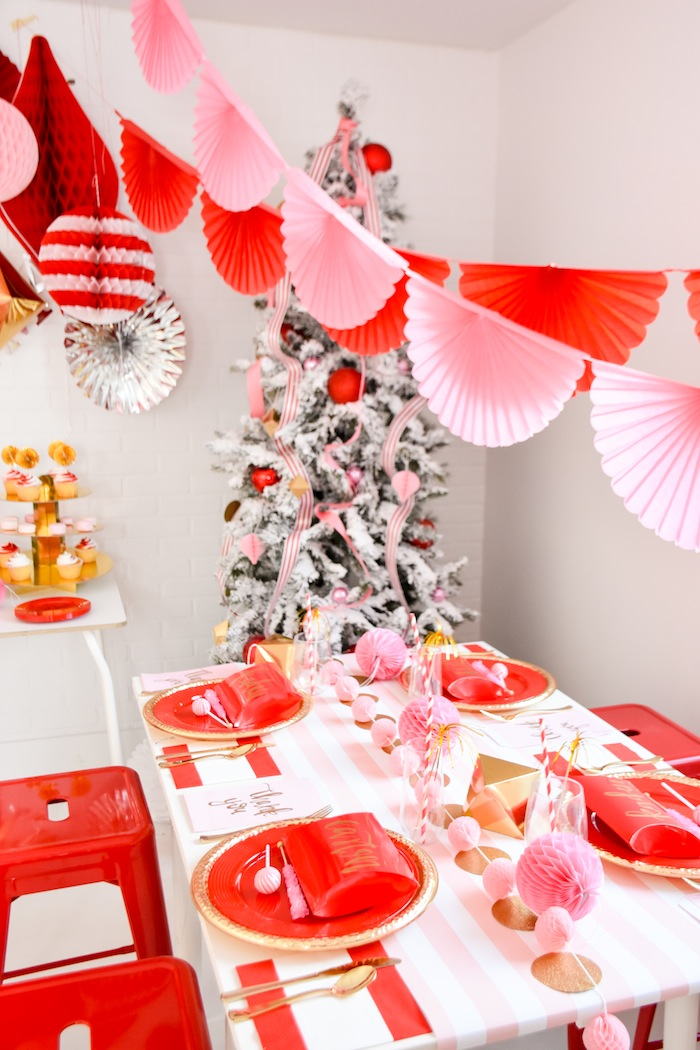 Modern Pink and Red Christmas Holiday Party by Kara's Party Ideas with Canary and King-1