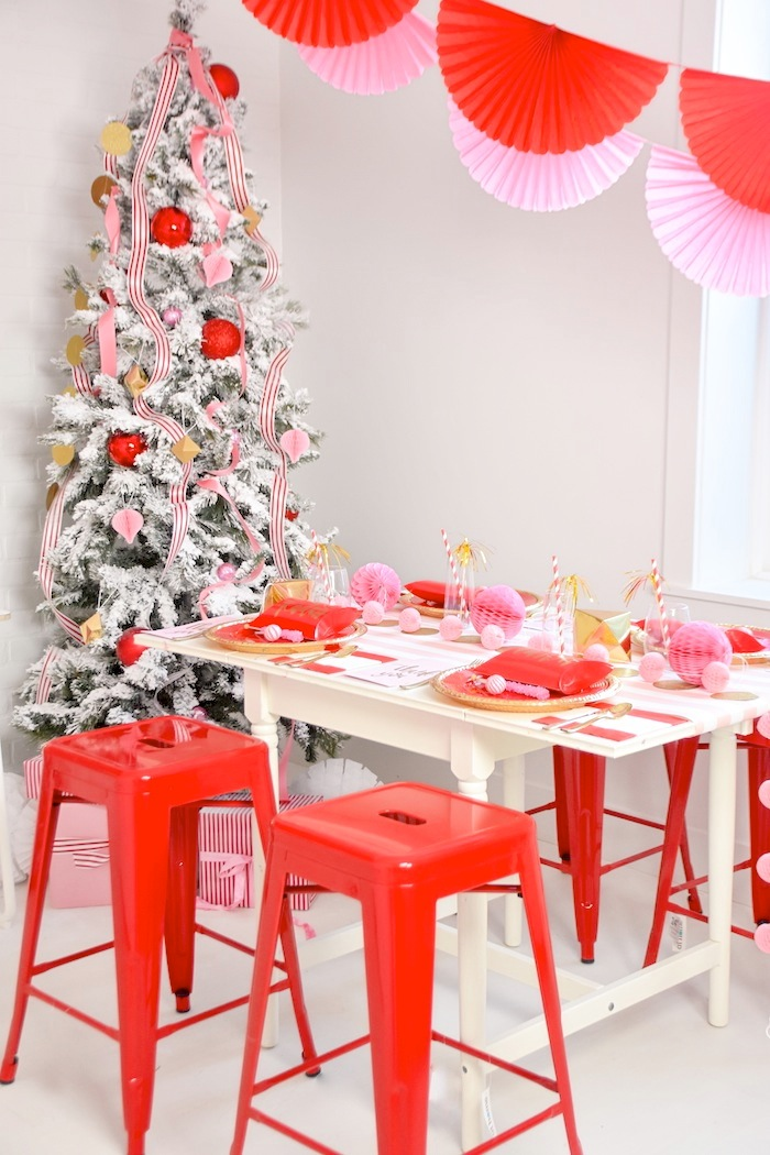 Modern Pink and Red Christmas Holiday Party by Kara's Party Ideas with Canary and King-14