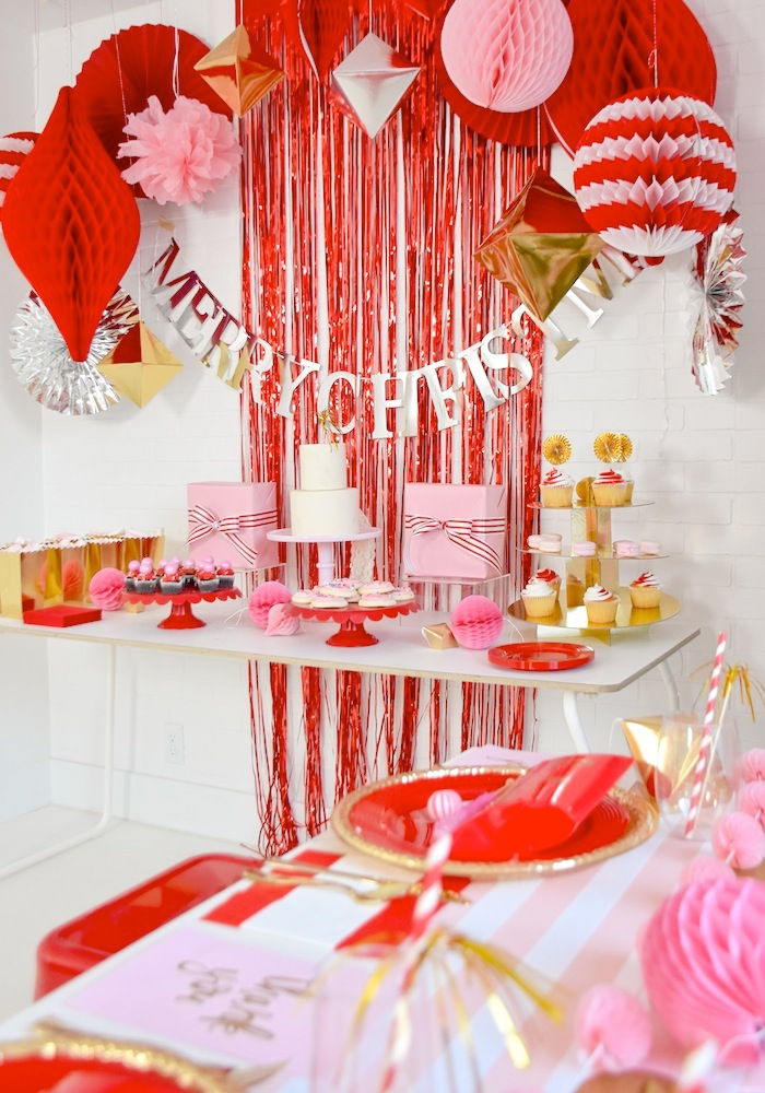 Modern Pink and Red Christmas Holiday Party by Kara's Party Ideas with Canary and King-9a