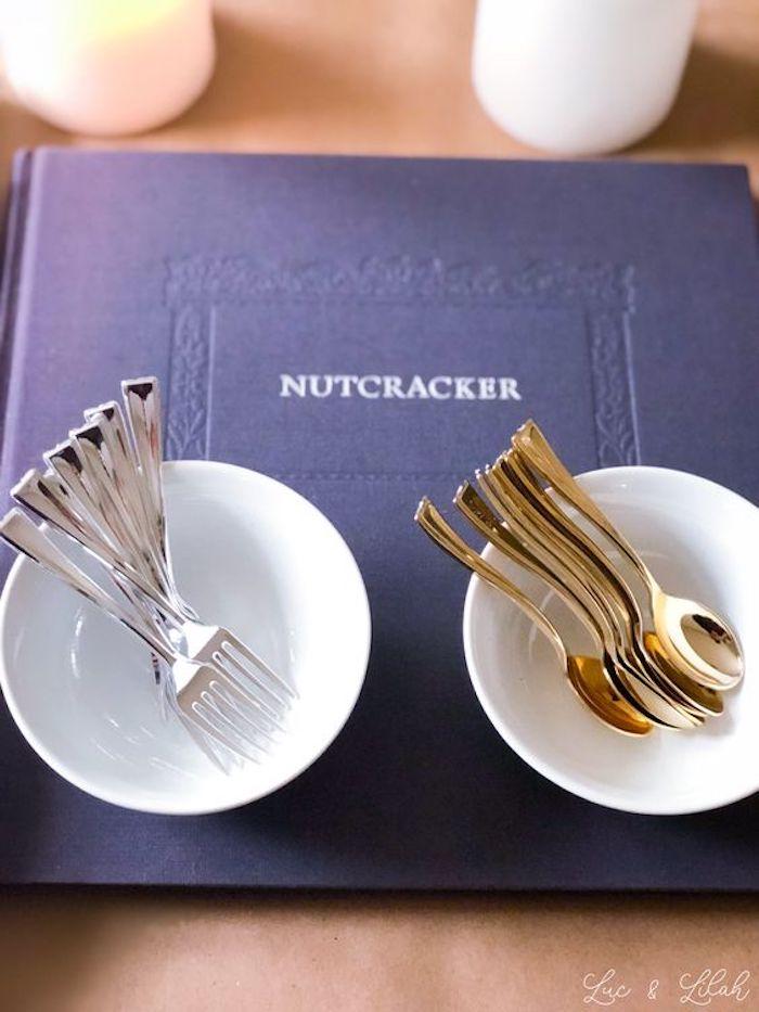 Silver and Gold Flatware from a Nutcracker Birthday Party on Kara's Party Ideas | KarasPartyIdeas.com (17)