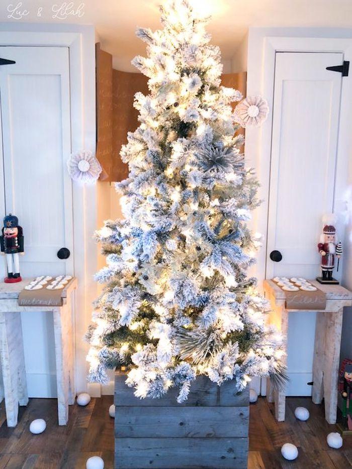 White Flocked Tree from a Nutcracker Birthday Party on Kara's Party Ideas | KarasPartyIdeas.com (7)