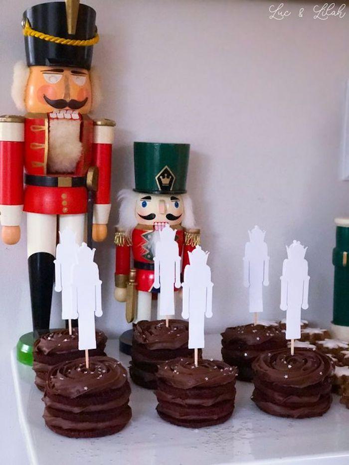 Mini Chocolate Cakes with Paper Nutcracker Toppers from a Nutcracker Birthday Party on Kara's Party Ideas | KarasPartyIdeas.com (6)
