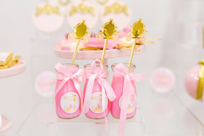Pink Drink Bottles from a Pink Princess Birthday Tea Party on Kara's Party Ideas | KarasPartyIdeas.com (24)