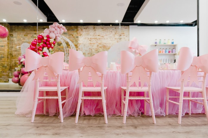Chiavari Chairs adorned with Pink Bows from a Pink Princess Birthday Tea Party on Kara's Party Ideas | KarasPartyIdeas.com (21)