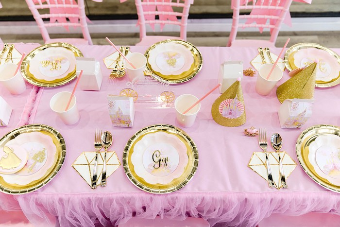 Pink + Gold Guest Table from a Pink Princess Birthday Tea Party on Kara's Party Ideas | KarasPartyIdeas.com (20)