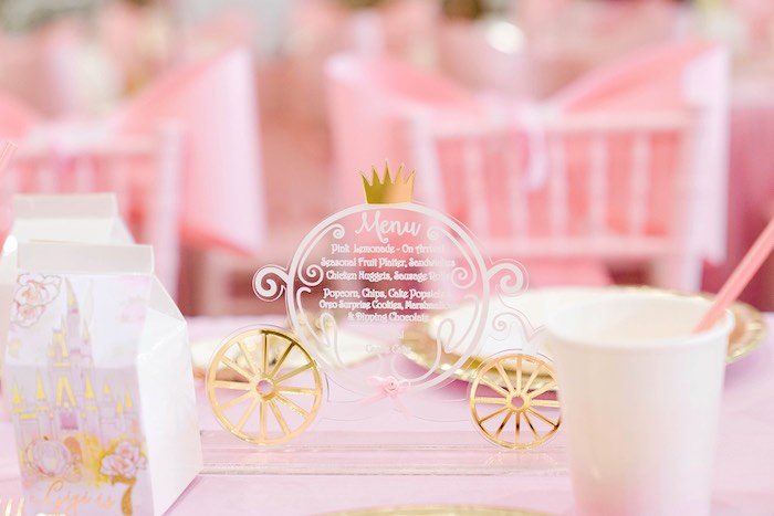 Acrylic Carriage Menu from a Pink Princess Birthday Tea Party on Kara's Party Ideas | KarasPartyIdeas.com (19)