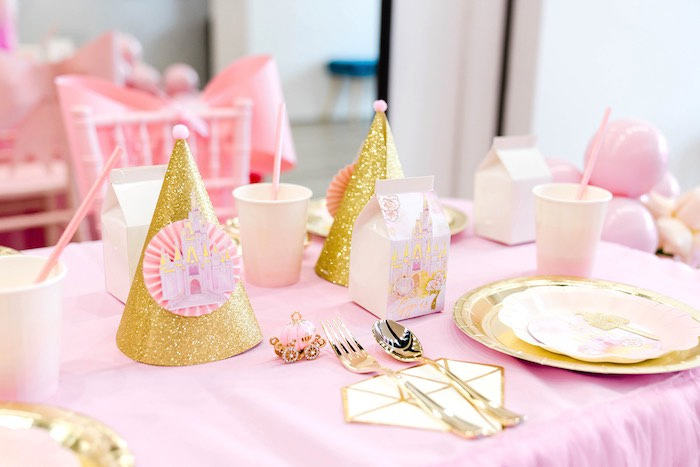 Princess Table Setting from a Pink Princess Birthday Tea Party on Kara's Party Ideas | KarasPartyIdeas.com (18)