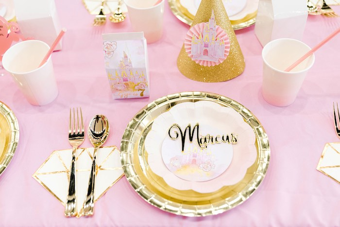 Personalized Gold Table Setting from a Pink Princess Birthday Tea Party on Kara's Party Ideas   KarasPartyIdeas.com (17)