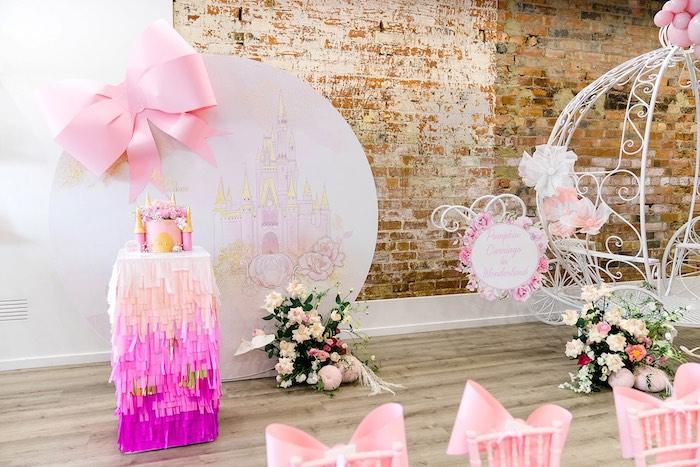Castle Backdrop Cake Table from a Pink Princess Birthday Tea Party on Kara's Party Ideas   KarasPartyIdeas.com (15)