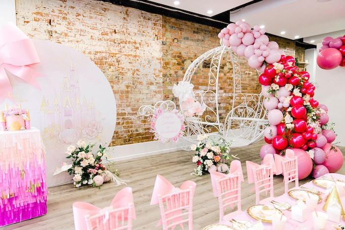 White Pumpkin Carriage from a Pink Princess Birthday Tea Party on Kara's Party Ideas | KarasPartyIdeas.com (14)