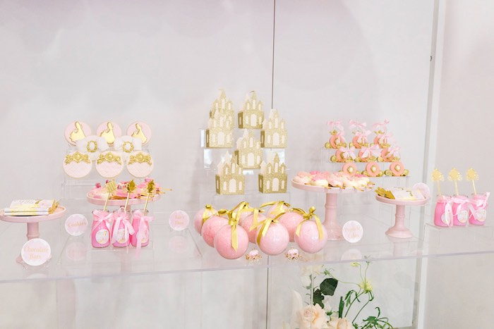 Modern Pink + Gold Dessert Table from a Pink Princess Birthday Tea Party on Kara's Party Ideas | KarasPartyIdeas.com (13)
