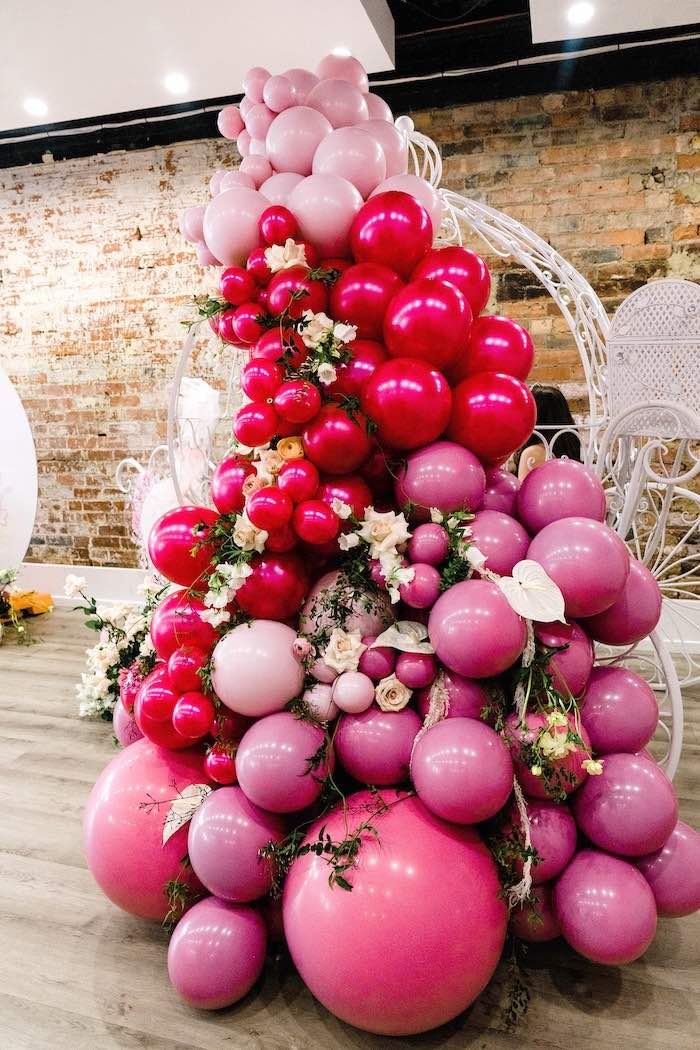 Pink Balloon and Floral Balloon Install from a Pink Princess Birthday Tea Party on Kara's Party Ideas | KarasPartyIdeas.com (12)