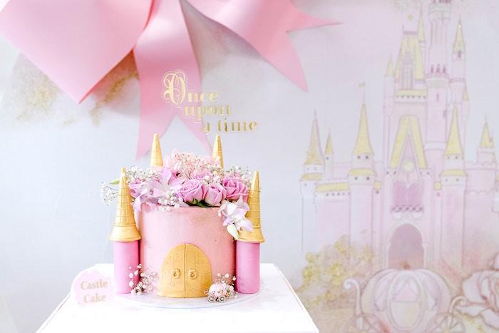 Castle Cake from a Pink Princess Birthday Tea Party on Kara's Party Ideas   KarasPartyIdeas.com (34)