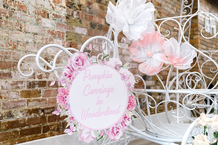 Floral Circle Sign from a Pink Princess Birthday Tea Party on Kara's Party Ideas | KarasPartyIdeas.com (31)