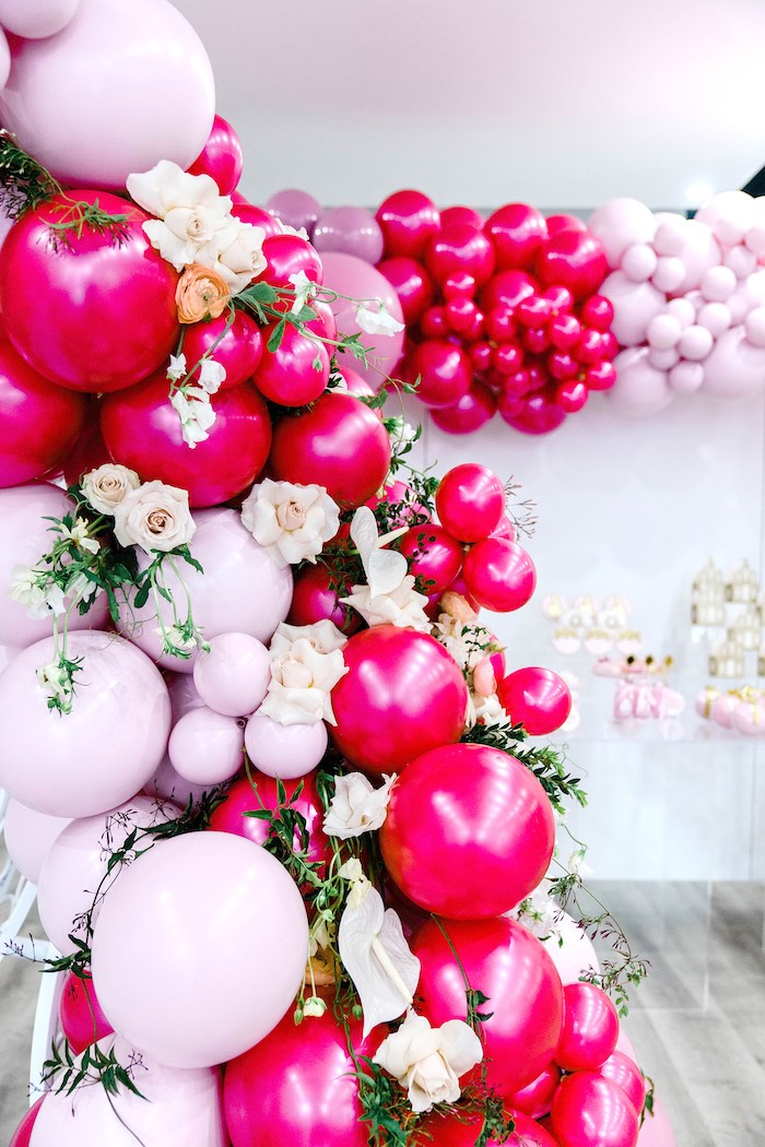 Pink Balloon Install from a Pink Princess Birthday Tea Party on Kara's Party Ideas | KarasPartyIdeas.com (30)