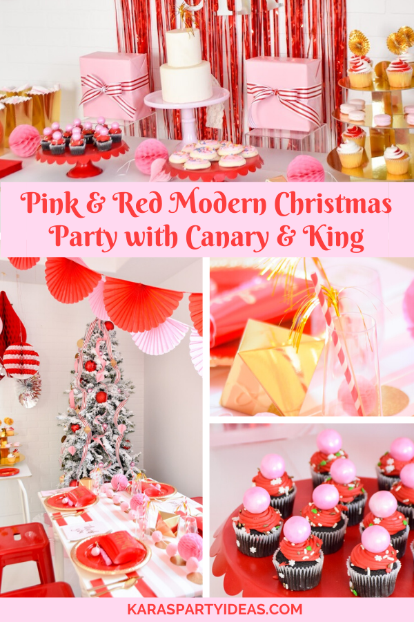 Pink & Red Modern Christmas Party with Canary & KingKara's Party Ideas - KarasPartyIdeas.com