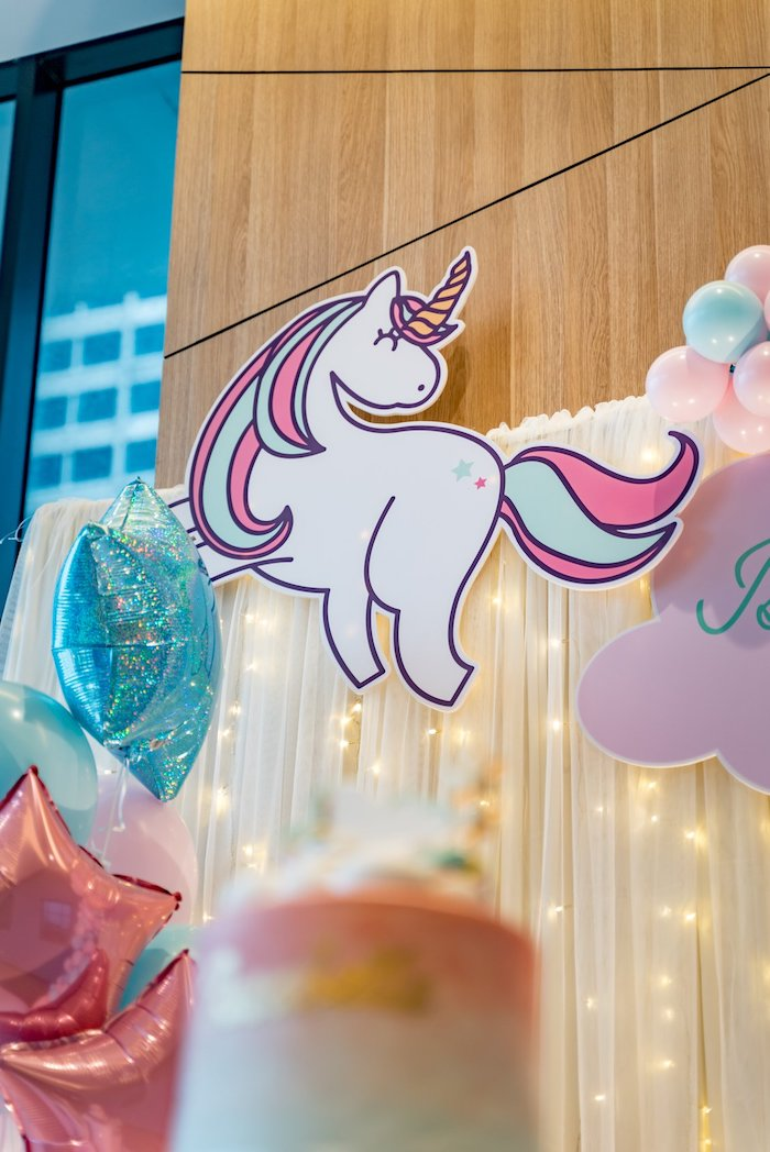 Printed Unicorn Backdrop from a Sweet Unicorn Full Moon Party on Kara's Party Ideas | KarasPartyIdeas.com (8)
