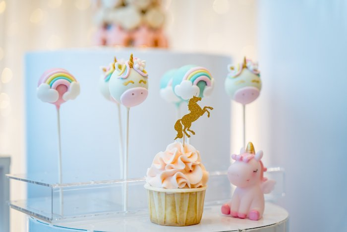 Unicorn Cake Pops + Cupcake from a Sweet Unicorn Full Moon Party on Kara's Party Ideas | KarasPartyIdeas.com (7)