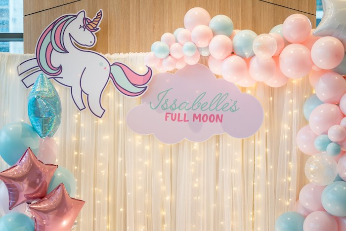 Twinkle Light Balloon Garland Backdrop from a Sweet Unicorn Full Moon Party on Kara's Party Ideas | KarasPartyIdeas.com (3)