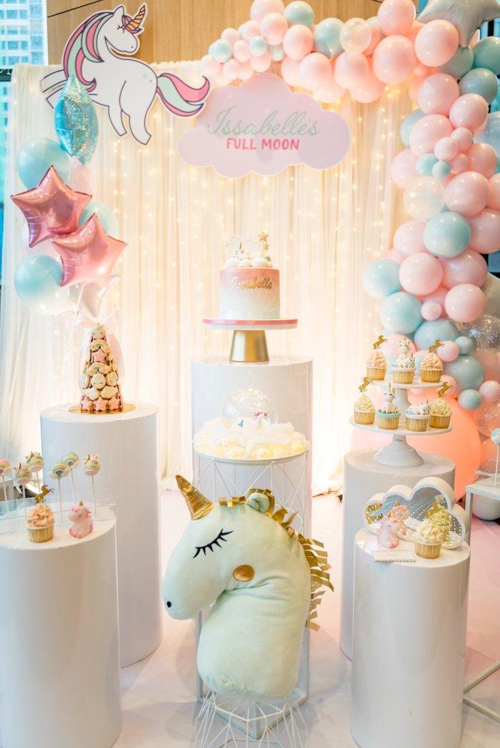 Unicorn Themed Dessert Spread from a Sweet Unicorn Full Moon Party on Kara's Party Ideas | KarasPartyIdeas.com (16)