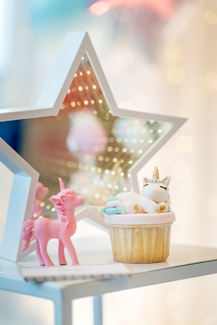 Unicorn Cupcakes + Star Prop from a Sweet Unicorn Full Moon Party on Kara's Party Ideas | KarasPartyIdeas.com (14)