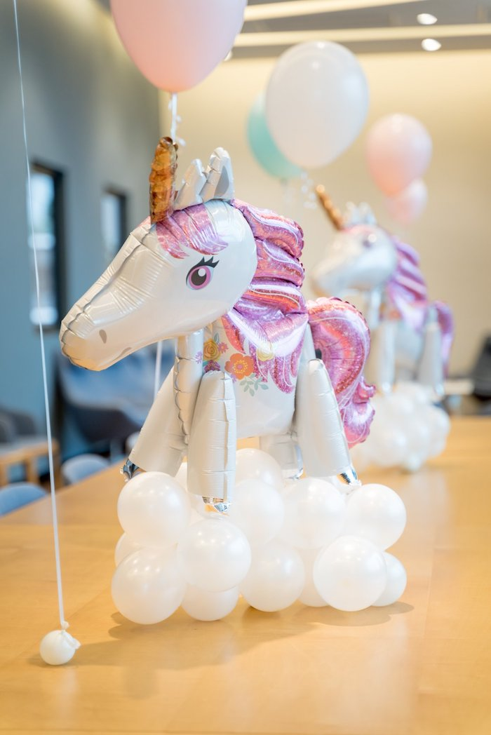 Unicorn in the Clouds Balloon Centerpiece from a Sweet Unicorn Full Moon Party on Kara's Party Ideas | KarasPartyIdeas.com (13)