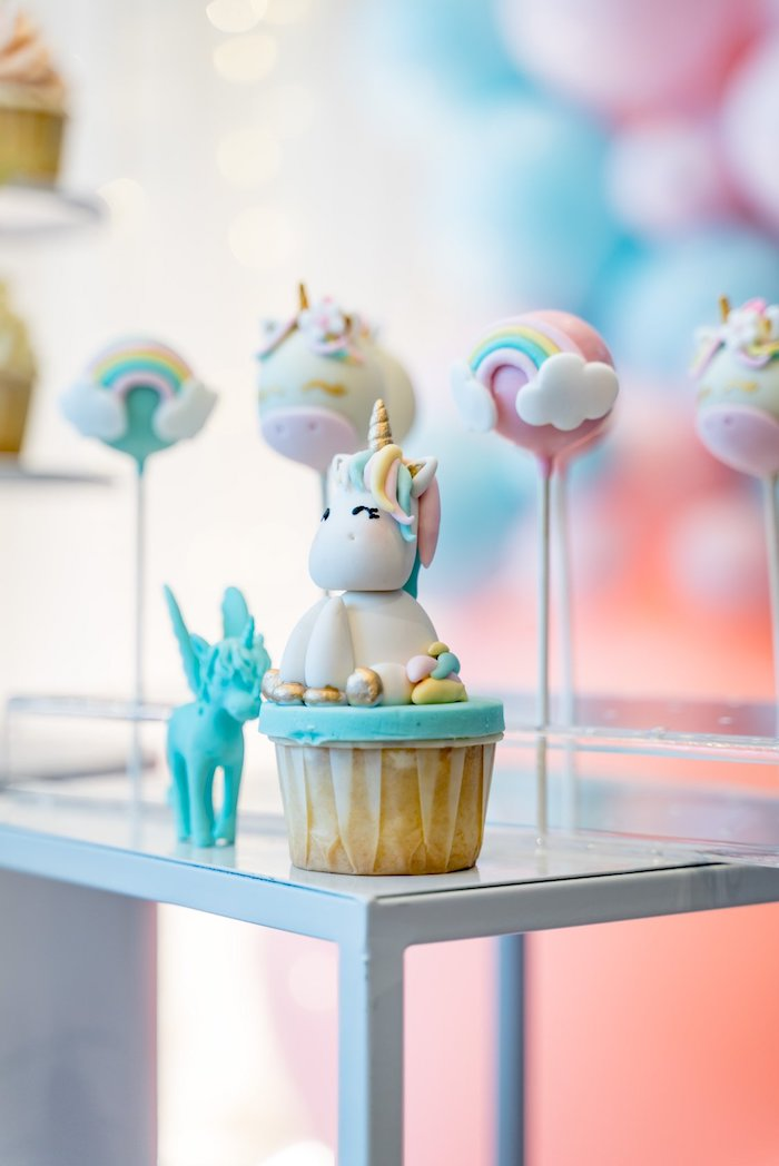 Unicorn Cupcake from a Sweet Unicorn Full Moon Party on Kara's Party Ideas | KarasPartyIdeas.com (10)