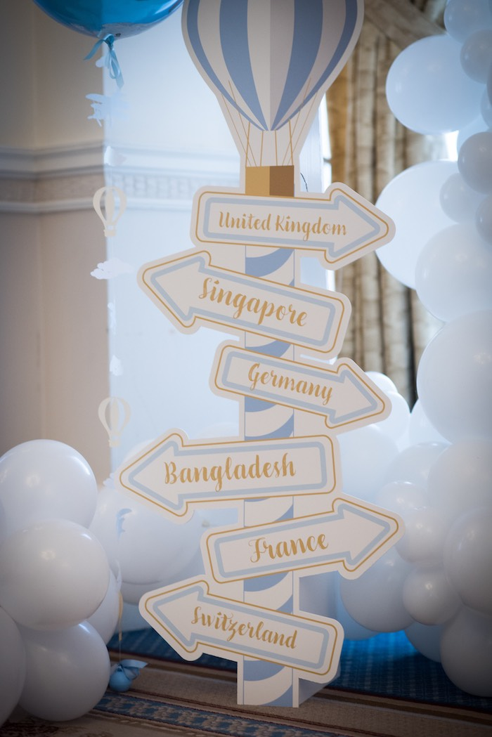 Destination Directional Sign from a Vintage Travel + Hot Air Balloon Party on Kara's Party Ideas | KarasPartyIdeas.com (18)