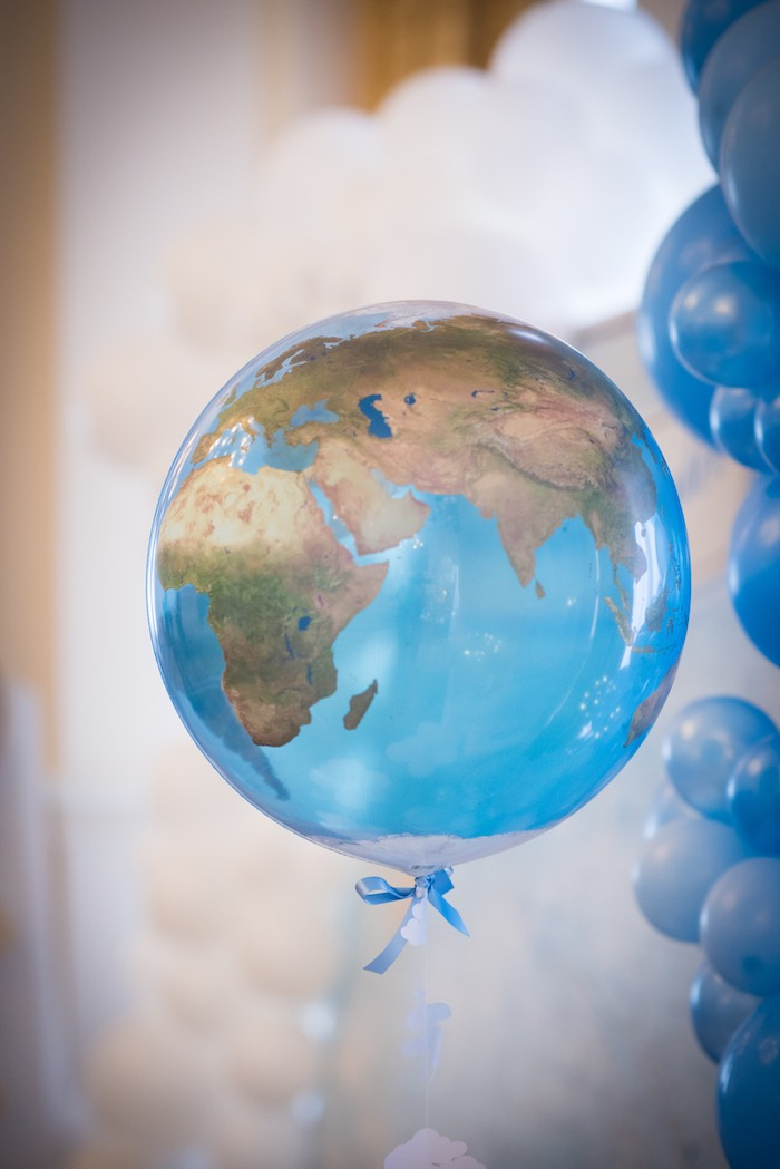 Globe Balloon from a Vintage Travel + Hot Air Balloon Party on Kara's Party Ideas | KarasPartyIdeas.com (17)