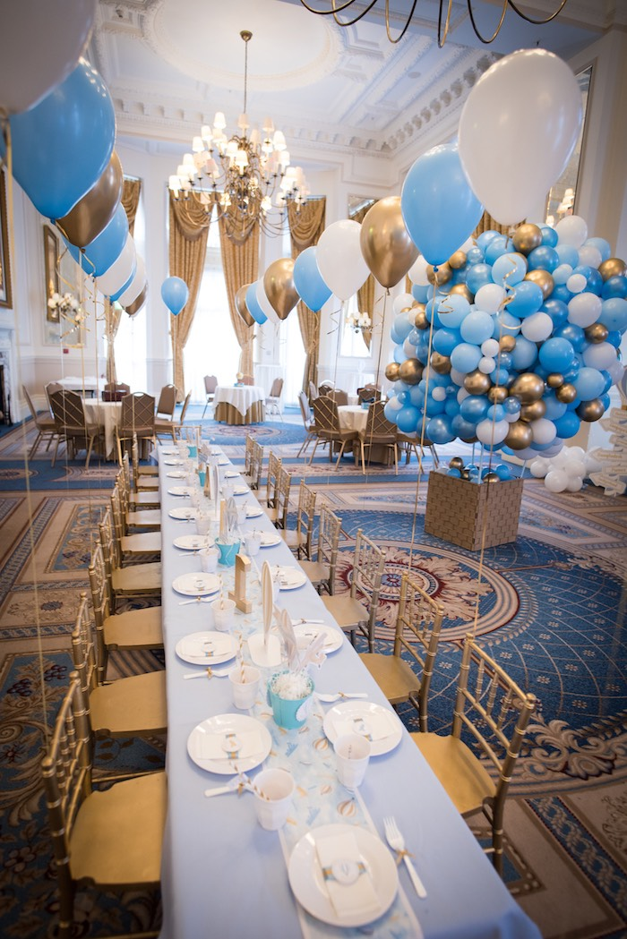 Gold + White + Blue Dining Table from a Vintage Travel + Hot Air Balloon Party on Kara's Party Ideas | KarasPartyIdeas.com (11)