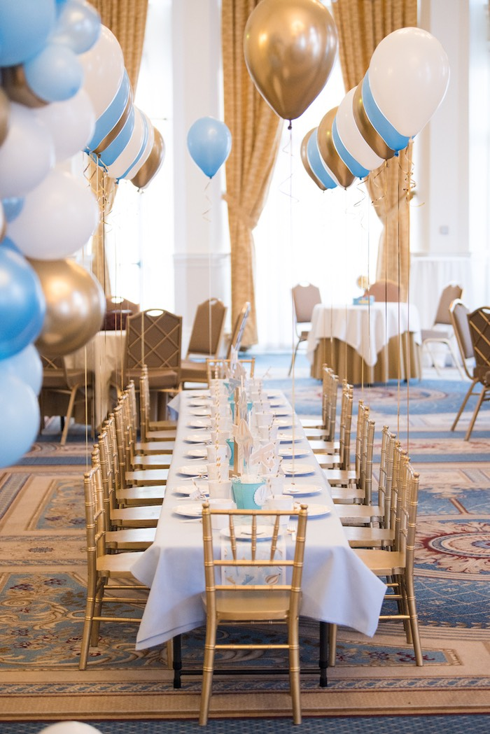 Gold + White + Blue Dining Table from a Vintage Travel + Hot Air Balloon Party on Kara's Party Ideas | KarasPartyIdeas.com (8)