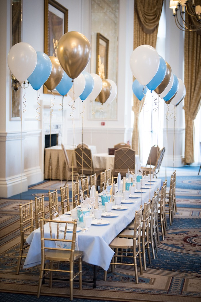 Gold + White + Blue Dining Table from a Vintage Travel + Hot Air Balloon Party on Kara's Party Ideas | KarasPartyIdeas.com (7)