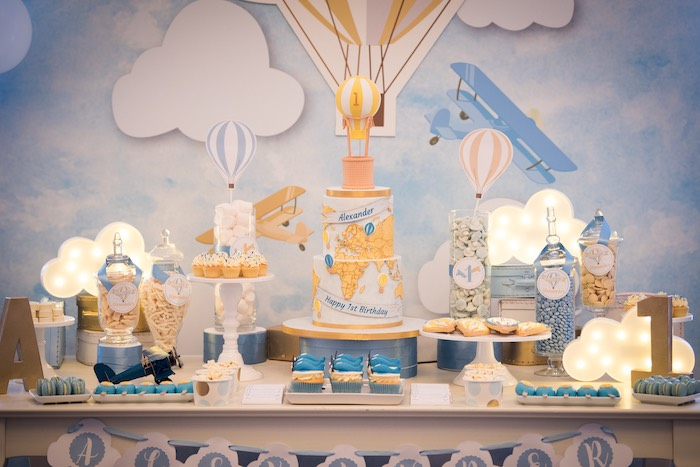 Hot Air Balloon Themed Dessert Table from a Vintage Travel + Hot Air Balloon Party on Kara's Party Ideas | KarasPartyIdeas.com (6)