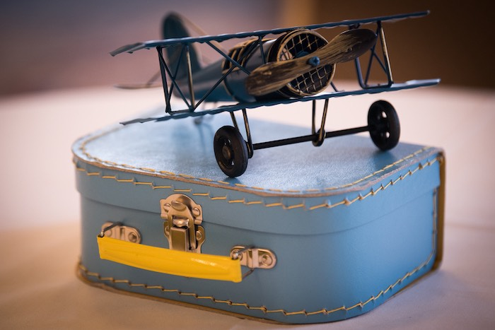 Vintage Suitcase & Airplane Centerpiece from a Vintage Travel + Hot Air Balloon Party on Kara's Party Ideas | KarasPartyIdeas.com (4)