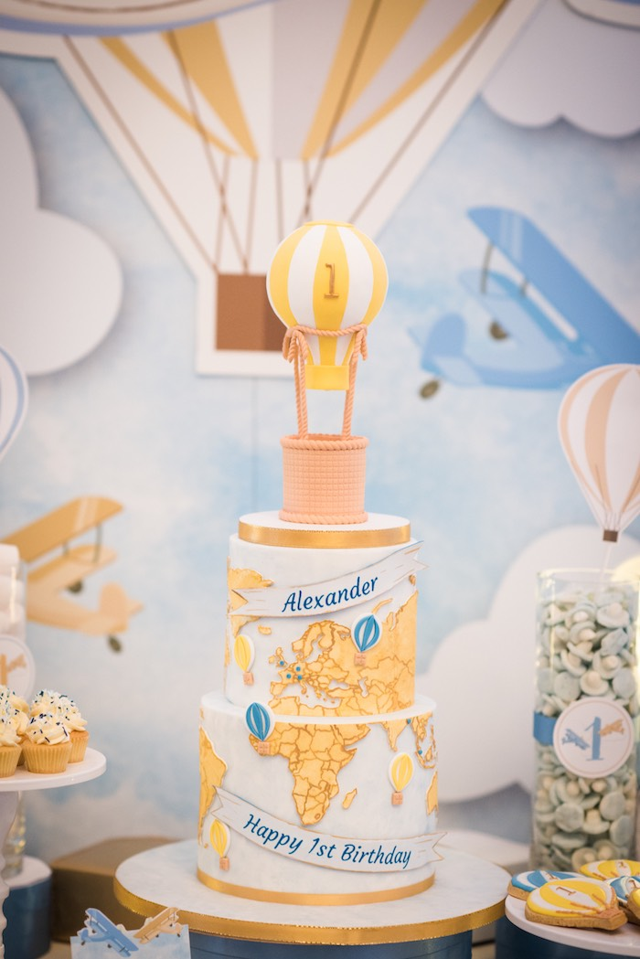 Hot Air Balloon + Map Cake from a Vintage Travel + Hot Air Balloon Party on Kara's Party Ideas | KarasPartyIdeas.com (26)